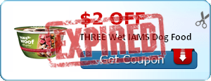 $2.00 off THREE Wet IAMS Dog Food
