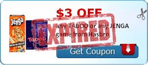 $3.00 off any TABOO or any JENGA game from Hasbro