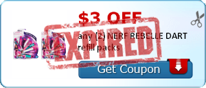 $3.00 off any (2) NERF REBELLE DART refill packs
