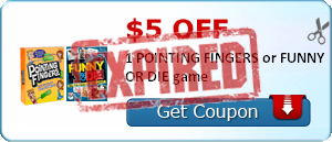 $5.00 off 1 POINTING FINGERS or FUNNY OR DIE game
