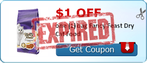 $1.00 off one (1) bag Fancy Feast Dry Cat Food