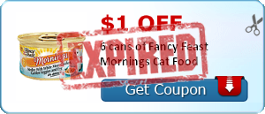 $1.00 off 6 cans of Fancy Feast Mornings Cat Food