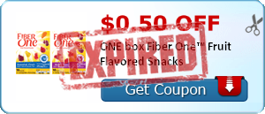 $0.50 off ONE box Fiber One™ Fruit Flavored Snacks