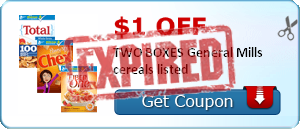 $1.00 off TWO BOXES General Mills cereals listed