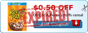 $0.50 off ONE BOX Reese's Puffs cereal