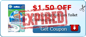 $1.50 off 2 Scrubbing Bubbles Toilet Cleaning Gels