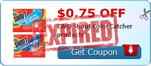 $0.75 off TWO Shout Color Catcher products