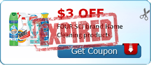 $3.00 off FOUR SCJ brand Home Cleaning products
