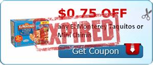 $0.75 off any El Monterey Taquitos or Mini Chimis