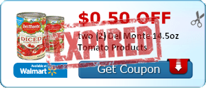 $0.50 off two (2) Del Monte 14.5oz Tomato Products