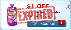 $1.00 off any 3 Gerber Graduates Grabbers™ items