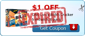 $1.00 off ONE Lance Bolds Cracker Sandwich, 6 pack