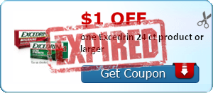 $1.00 off one Excedrin 24 ct product or larger