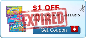 $1.00 off TWO WONKA or SweeTARTS Jelly Beans