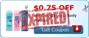 $0.75 off any TWO (2) Suave Body Washes