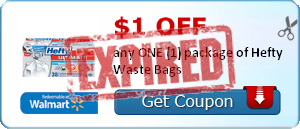 $1.00 off any ONE (1) package of Hefty Waste Bags