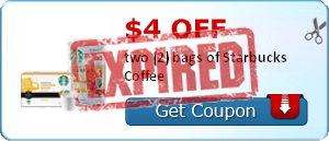 $4.00 off two (2) bags of Starbucks Coffee