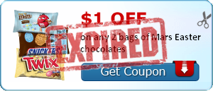 $1.00 off on any 2 bags of Mars Easter chocolates