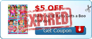 $5.00 off BABY ALIVE Baby Gets a Boo Boo doll