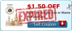 $1.50 off Burt's Bees Baby Bee or Mama Bee product