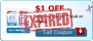 $1.00 off any Fresh Guard™ Soak or Wipes