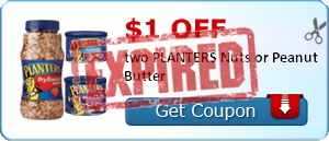 $1.00 off two PLANTERS Nuts or Peanut Butter