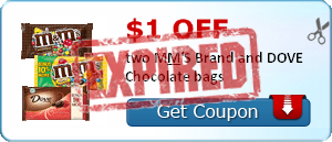 $1.00 off two M&M'S Brand and DOVE Chocolate bags