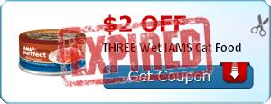 $2.00 off THREE Wet IAMS Cat Food
