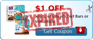 $1.00 off any South Beach Diet Bars or Smoothies