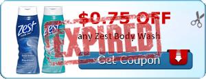 $0.75 off any Zest Body Wash