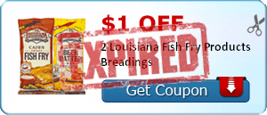 $1.00 off 2 Louisiana Fish Fry Products Breadings