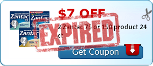 $7.00 off 2 Zantac 75 or 150 product 24 ct
