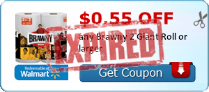 $0.55 off any Brawny 2 Giant Roll or larger