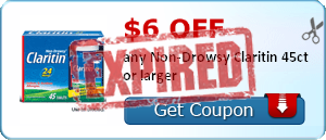 $6.00 off any Non-Drowsy Claritin 45ct or larger