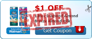 $1.00 off 1 Blue Diamond Almond Breeze Almond milk