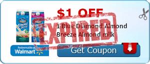 $1.00 off 1 Blue Diamond Almond Breeze Almond milk