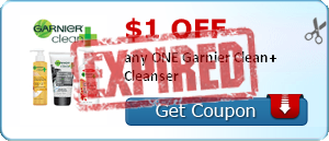 $1.00 off any ONE Garnier Clean+ Cleanser