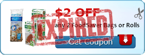 $2.00 off any 2 FoodSaver Bags or Rolls