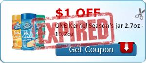$1.00 off ONE Kernel Season's jar 2.7oz - 10.2oz