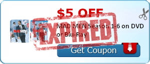 $5.00 off MAD MEN Season 1-6 on DVD or Blu-Ray