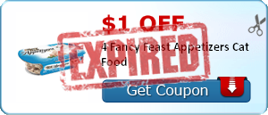 $1.00 off 4 Fancy Feast Appetizers Cat Food