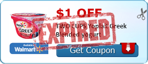 $1.00 off TWO CUPS Yoplait Greek Blended yogurt