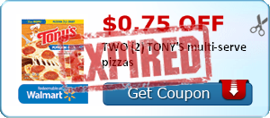 $0.75 off TWO (2) TONY'S multi-serve pizzas