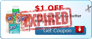 $1.00 off Zest Creamy Cocoa Butter Body Wash