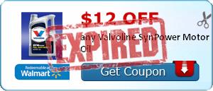 $12.00 off any Valvoline SynPower Motor Oil