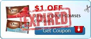 $1.00 off 2 bags of DOVE PROMISES Chocolate