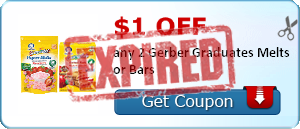 $1.00 off any 2 Gerber Graduates Melts or Bars
