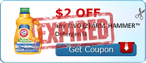$2.00 off any TWO (2) ARM & HAMMER™ Detergents