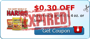 $0.30 off any Haribo product, 4 oz. or larger