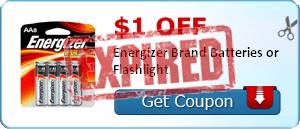 $1.00 off Energizer Brand Batteries or Flashlight